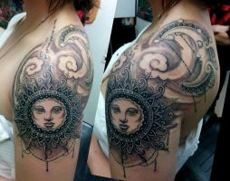 Sun and Moon tattoo by catbones