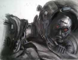 Icy Disposition (Mr. Freeze charcoal) by ruggala08