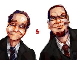 Penn and Teller Portraits by michaelfirman