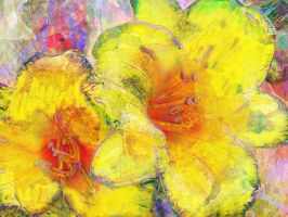 Lilies Two Yellow by Tackon