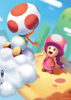 Toad and Toadette by thelonely1