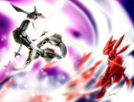 Rayquaza - shiny - vs. Scizor by JA-punkster