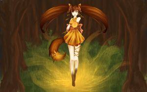 Fox in the woods by Miriam-Hiromi