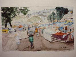 camp in Haiti by Moenn