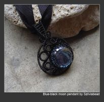 Blue-black moon pendant by bodaszilvia
