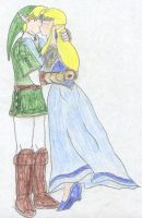 Zelda and Link - Kiss by FoxBluereaver