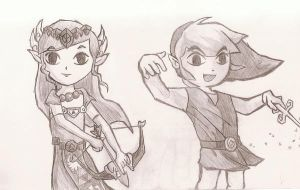 WW: Link and Zelda by nightmaredude456