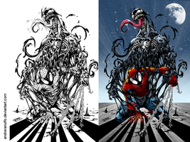 Coloring side-by-side / Spider Man and Venom by andreranulfo
