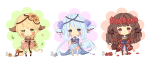 [Closed] Adopt 6: Flowers Kimonomimi by Minn-Adoptables