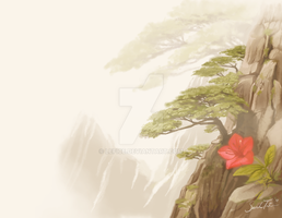 Red Azalea on the Cliff by Lefice