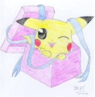 Pikachu all wrapped up by ChobiChibi