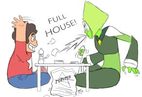Steven playing Cards with Peridot. by TheSwordFactory