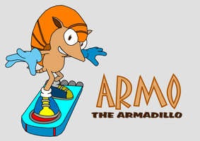 Armo the Armadillo riding a hoverboard by Antooniverse