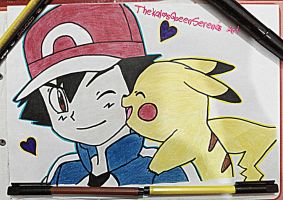 XYZ Ash and Pikachu~Eye Wink by TheKalosQueenSerena