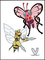 Mega Butterfree and Mega Beedrill by VrikrarVictorious