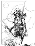 Sci fi coloring book page by mustacherozo