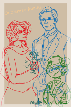 sketchy family portrait by mariekelikestodrawn