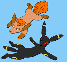 flat vulpix and umbreon by Accordiankat
