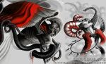 Good VS Evil half torso tattoo design -detail by mariamism
