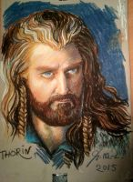 Grumpy!Thorin in oil pastels by Miruna-Lavinia