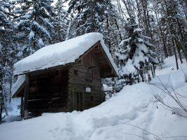 Winter Stock: wooden building by Burtn