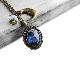 Midnight Blue Cosmic Galaxy Resin Pendant Necklace by crystaland