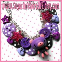 Purple Gloomy Bear Bracelet by SugarAndSpiceDIY