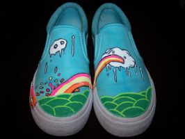 Custom Shoes: Puking Rainbow by kustom-kicks