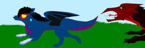 mr.dark being chased by a dragon by Blackrose416