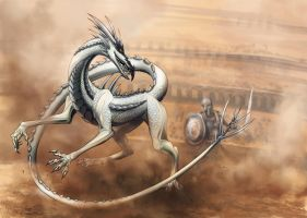 Dragon on arena by Alaiaorax