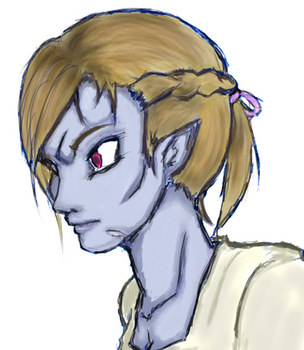 Doodle Time - Elder Scrolls - Female Dunmer Color by the-generic-overlord