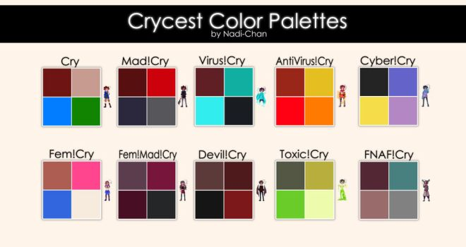 Crycest Color Palettes by Nadi-Chan