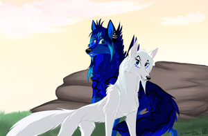 Sisters in the sunrise by MittensTheNoble