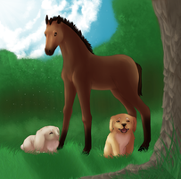 Dog, rabbit, horse. by SpasmofantenReturns