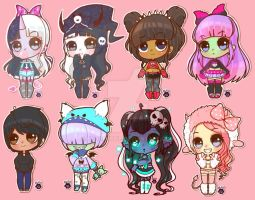 Sticker chibs by neonpoppie