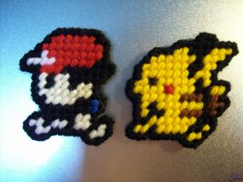 Ash and Pikachu Magnets by AprilMoonshine