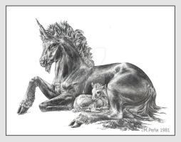 Mother and baby unicorn by Reptangle