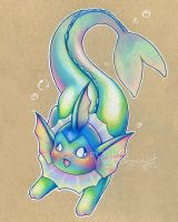 Colorful Vaporeon by opalchan
