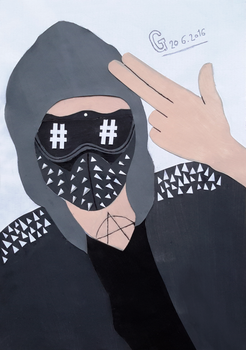 Wrench Watch Dogs 2 papercut collage portrait by MarikoSusie