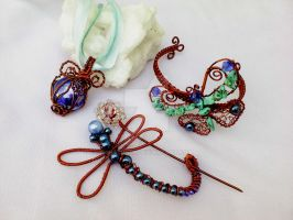 Butterfly dragonfly blue pendant with copper wire by Mirtus63