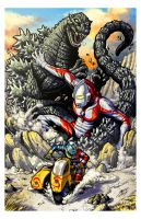 Godzilla vs Ultraman vs Kikaider by KaijuSamurai
