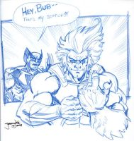Lion-O and Wolverine sketch by thejeremydale