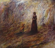 Puritan girl and her dog by inner