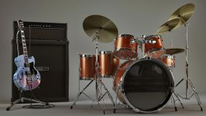 3d Guitar and Ampstack and Drum set textured by bewsii