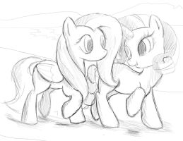 Fluttershy and Rarity Sketch by Lighting-Shadow