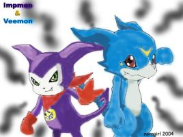 Impmon and Veemon by norngirl