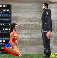 Wonder Woman Kneels Before Zod by The-Mind-Controller
