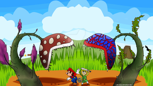 A Link Between Worlds - Mario and Link by Linkage92