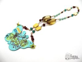 Perfect Me Butterfly Collage Necklace by TheFuzzyPineapple
