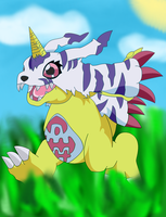 Gabumon Randomly Running XD by Destiny-The-Hedgimon